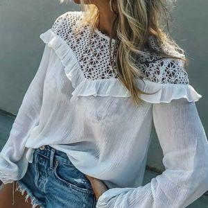Amaryllis White Patchwork Lace Long Sleeve…
